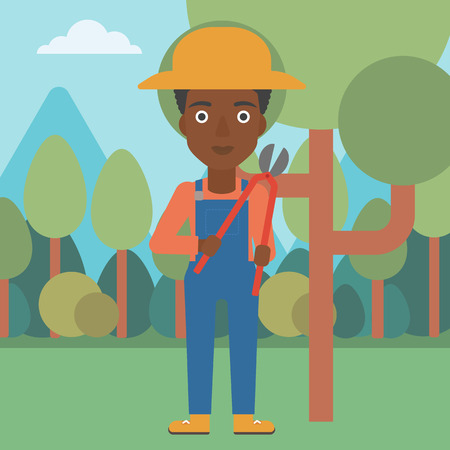 pruner: An african-american woman holding a pruner on a background of garden with trees vector flat design illustration. Square layout.
