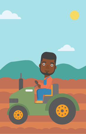 plowed: An african-american man driving a tractor on the background of plowed agricultural field vector flat design illustration. Vertical layout.