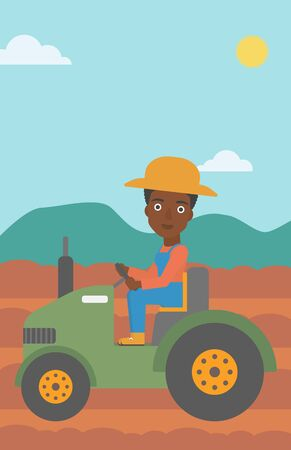 fieldwork: An african-american woman driving a tractor on the background of plowed agricultural field vector flat design illustration. Vertical layout.