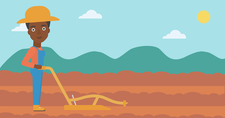 An african-american woman using a plough on the background of plowed agricultural field vector flat design illustration. Horizontal layout. Illustration