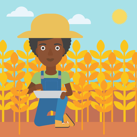 checking: An african-american woman checking plants on a field and working on a digital tablet vector flat design illustration. Square layout.