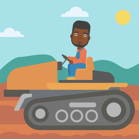 cultivator: An african-american man driving a tractor on a background of plowed agricultural field vector flat design illustration. Square layout. Illustration