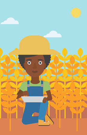 checking: An african-american woman checking plants on a field and working on a digital tablet vector flat design illustration. Vertical layout.