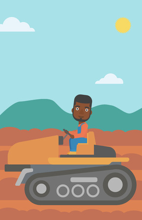 plowed: An african-american man driving a tractor on a background of plowed agricultural field vector flat design illustration. Vertical layout. Illustration