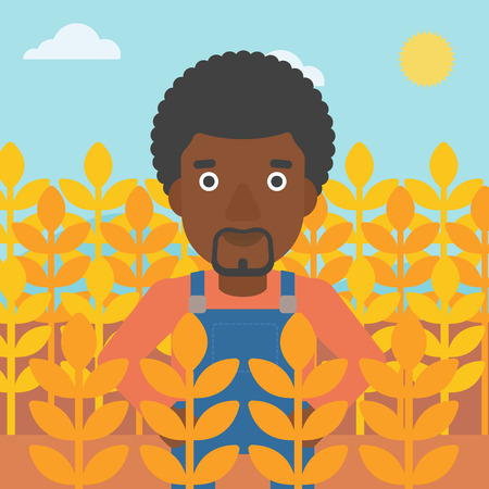 plant stand: An african-american man standing in a wheat field vector flat design illustration. Square layout.