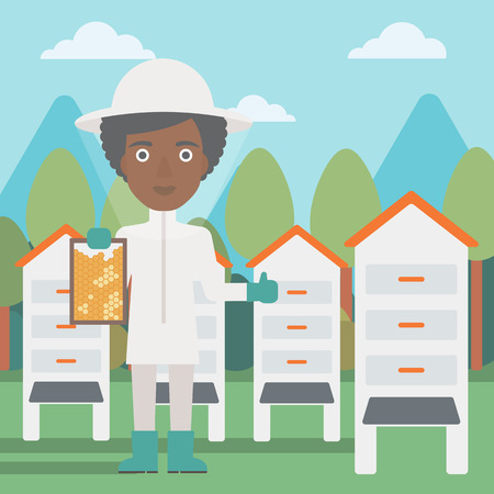 An african-american woman wearing protective suit holding a framework in hand and showing thumb up on the background of apiary vector flat design illustration. Square layout. Ilustração
