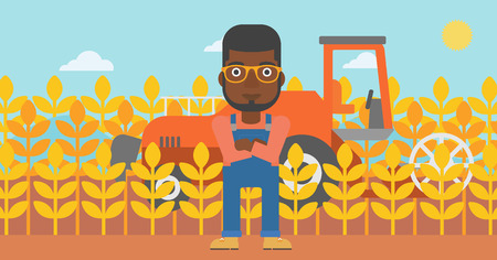 An african-american man standing on the background of combine harvesting wheat vector flat design illustration. Horizontal layout.