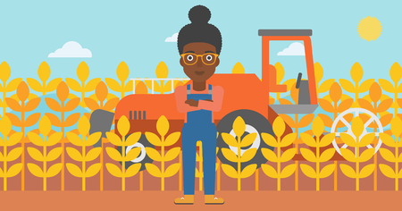 combine: An african-american woman standing on the background of combine harvesting wheat vector flat design illustration. Horizontal layout.