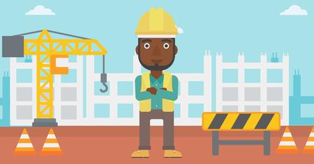 腕を組んで建設サイト ベクトル フラット デザイン イラストの背景に立っているアフリカ系アメリカ人の男性。水平方向のレイアウト。