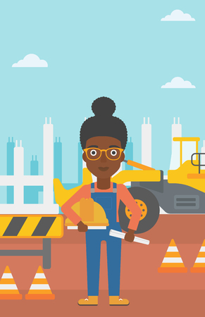executive helmet: An african-american woman holding a hard hat and a twisted blueprint in hands on a background of construction site with excavator and traffic cones vector flat design illustration. Vertical layout. Illustration