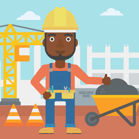An african-american man in helmet showing thumbs up sign on a background of construction site with road barriers and wheelbarrow vector flat design illustration. Square layout.