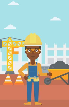 thumbs up sign: An african-american woman in helmet showing thumbs up sign on a background of construction site with road barriers and wheelbarrow vector flat design illustration. Vertical layout. Illustration