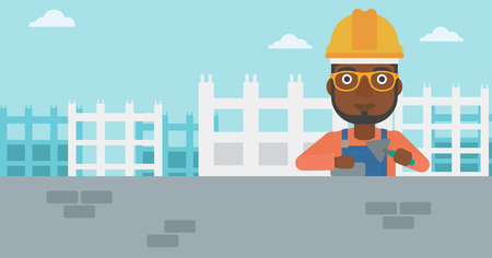 building site: An african-american bricklayer with a spatula and a brick in hands on a background of construction site vector flat design illustration. Horizontal layout. Illustration