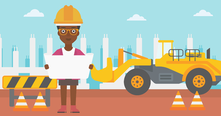 draftsman: An african-american woman considering a blueprint on a background of excavator on construction site vector flat design illustration. Horizontal layout.