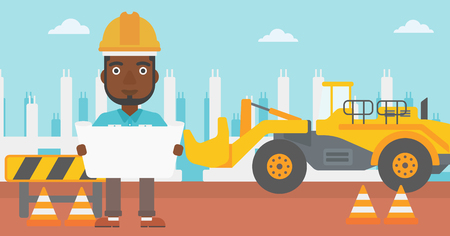 An african-american man considering a blueprint on a background of excavator on construction site vector flat design illustration. Horizontal layout. Illustration
