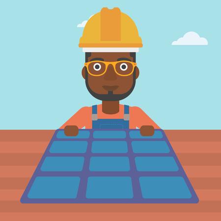 setup man: An african-american man installing solar panels on roof vector flat design illustration. Square layout.