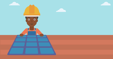 An african-american woman installing solar panels on roof vector flat design illustration. Horizontal layout. Illustration