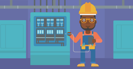 An african-american man in helmet measuring the voltage output vector flat design illustration. Horizontal layout.