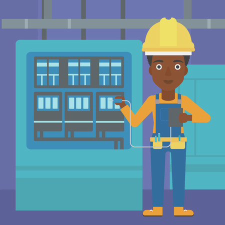 An african-american woman in helmet measuring the voltage output vector flat design illustration. Square layout.