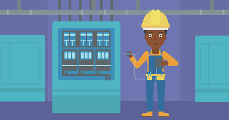 output: An african-american woman in helmet measuring the voltage output vector flat design illustration. Horizontal layout. Illustration
