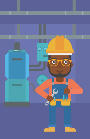 boiler room: An african-american man with a spanner in hand showing thumb up sign on a background of domestic household boiler room with heating system and pipes vector flat design illustration. Vertical layout. Illustration