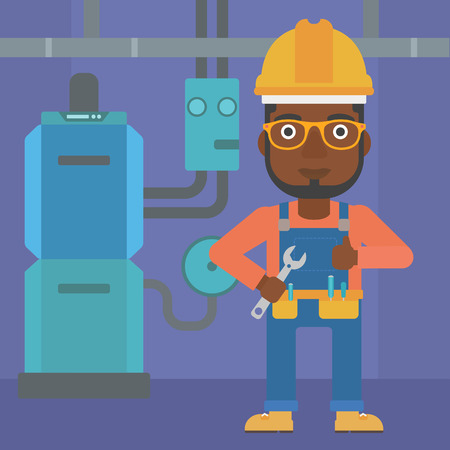 boiler room: An african-american man with a spanner in hand showing thumb up sign on a background of domestic household boiler room with heating system and pipes vector flat design illustration. Square layout. Illustration