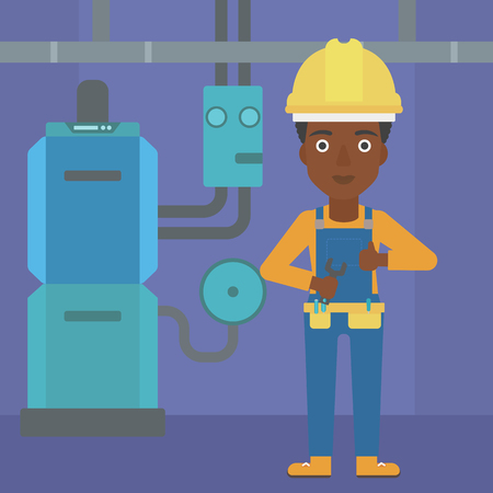 boiler room: An african-american female repairer engineer with a spanner in hand showing thumb up sign on a background of domestic household boiler room with heating system and pipes vector flat design illustration. Square layout.