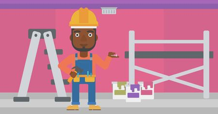 laborer: An african-american man in helmet with a hummer and a nail in hands standing on the background of purple walls, paint cans and ladder vector flat design illustration. Horizontal layout.