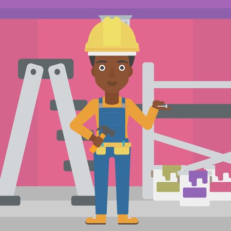 paint cans: An african-american woman in helmet with a hummer and a nail in hands standing on the background of purple walls, paint cans and ladder vector flat design illustration. Square layout.