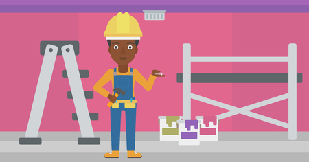 laborer: An african-american woman in helmet with a hummer and a nail in hands standing on the background of purple walls, paint cans and ladder vector flat design illustration. Horizontal layout. Illustration