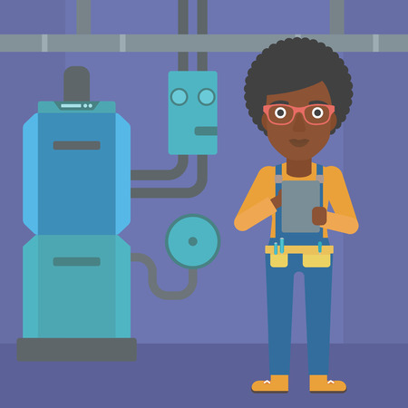 boiler room: An african-american woman making some notes in her tablet on a background of domestic household boiler room with heating system and pipes vector flat design illustration. Square layout.