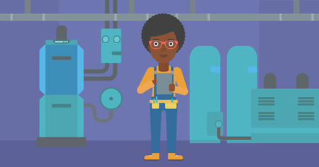 boiler room: An african-american woman making some notes in her tablet on a background of domestic household boiler room with heating system and pipes vector flat design illustration. Horizontal layout.