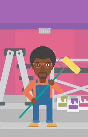 paint cans: An african-american man standing with a paint roller  on a background of room with paint cans and ladder vector flat design illustration. Vertical layout.