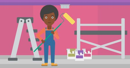 An african-american woman standing with a paint roller  on a background of room with paint cans and ladder vector flat design illustration. Horizontal layout. Illustration