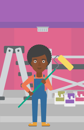 paint cans: An african-american woman standing with a paint roller  on a background of room with paint cans and ladder vector flat design illustration. Vertical layout. Illustration