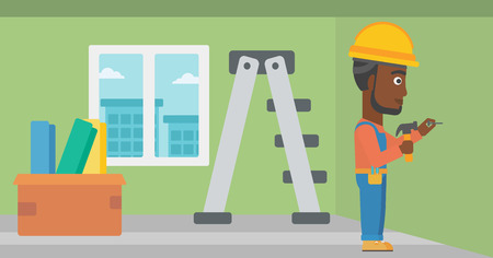 stepladder: An african-american man hitting a nail in the wall with a hummer on a background of room with step-ladder vector flat design illustration. Horizontal layout. Illustration