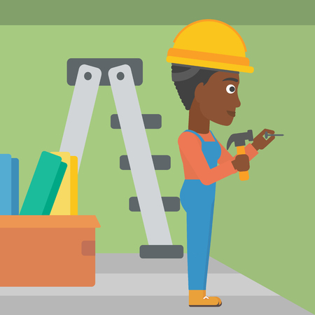 stepladder: An african-american woman hitting a nail in the wall with a hummer on a background of room with step-ladder vector flat design illustration. Square layout.