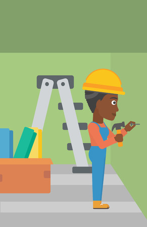 hitting: An african-american woman hitting a nail in the wall with a hummer on a background of room with step-ladder vector flat design illustration. Vertical layout. Illustration