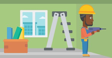 perforator: An african-american man drilling a hole in the wall using a perforator vector flat design illustration. Horizontal layout. Illustration