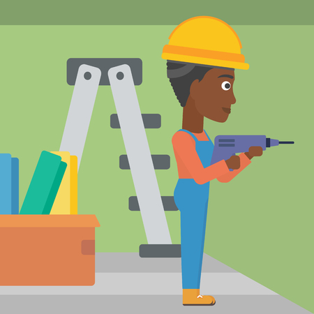 perforator: An african-american constructor drilling a hole in the wall using a perforator vector flat design illustration. Square layout.