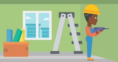 perforator: An african-american constructor drilling a hole in the wall using a perforator vector flat design illustration. Horizontal layout. Illustration