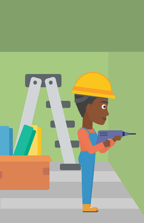 perforator: An african-american constructor drilling a hole in the wall using a perforator vector flat design illustration. Vertical layout.