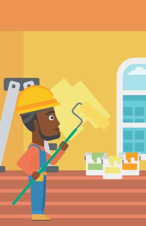 interior decoration: An african-american man painting walls with a paint roller vector flat design illustration. Vertical layout. Illustration