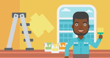 paint cans: An african-american man holding a paint brush on a background of room with paint cans and ladder vector flat design illustration. Horizontal layout. Illustration