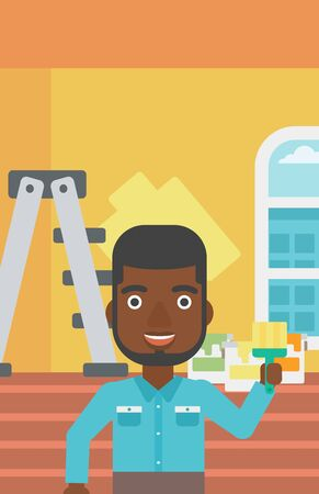 paint can: An african-american man holding a paint brush on a background of room with paint cans and ladder vector flat design illustration. Vertical layout.