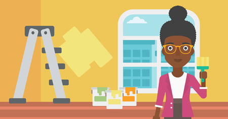 paint cans: An african-american woman holding a paint brush on a background of room with paint cans and ladder vector flat design illustration. Horizontal layout.