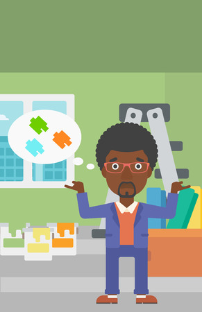 paint cans: An african-american man choosing color for a room on a background of room with step-ladder, paint cans and box with wallpapers vector flat design illustration. Vertical layout.