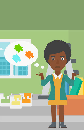 stepladder: An african-american woman choosing color for a room on a background of room with step-ladder, paint cans and box with wallpapers vector flat design illustration. Vertical layout.