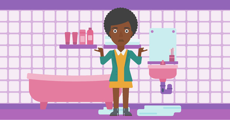 leaking: An african-american woman in despair standing near leaking sink in the bathroom vector flat design illustration. Horizontal layout.