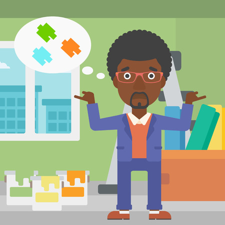 choosing: An african-american man choosing color for a room on a background of room with step-ladder, paint cans and box with wallpapers vector flat design illustration. Square layout.